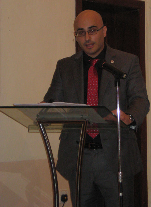 Charles Daniel Saliba addresses the audience at the Ministry of Gozo