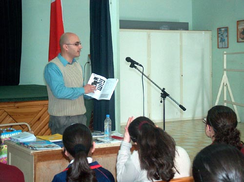 Charles Daniel Saliba addressing form 1 students