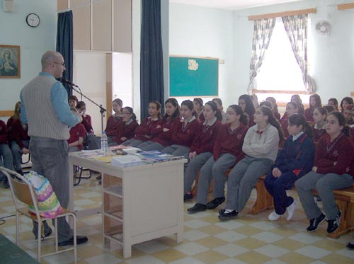Charles Daniel Saliba while addressing Form 1 students